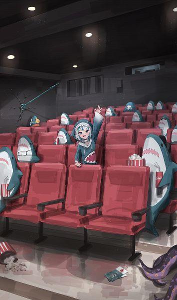 Tags: Anime, Pixiv Id 10552397, Gawr Gura Ch., Ninomae Ina'nis Ch., Hololive, Gawr Gura, Ninomae Ina'nis, Coca Cola, Shark Costume, Movie Theater, Medical Mask, Popcorn