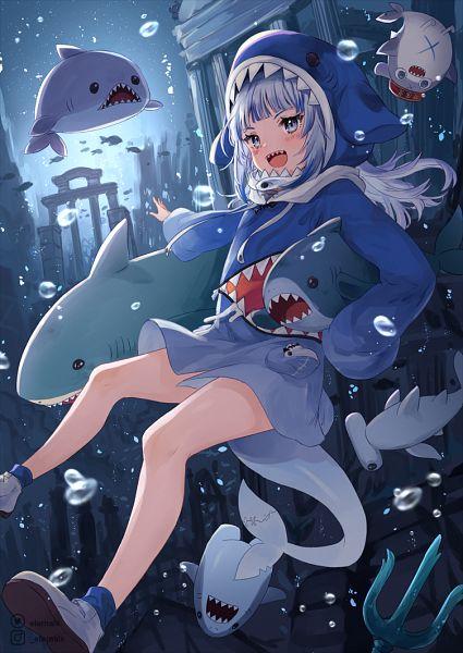 Tags: Anime, Eternal-S, Hololive, Gawr Gura Ch., Bloop, Gawr Gura, Shark, Shark Costume, Fanart, Fanart From Pixiv, Pixiv