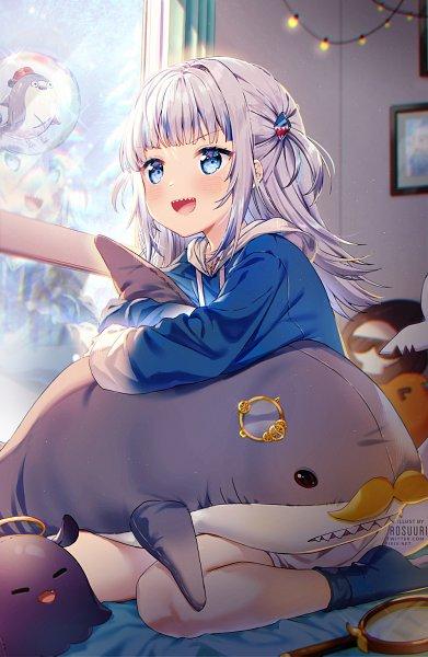 Tags: Anime, Rosuuri, Gawr Gura Ch., Hololive, Bloop, Gawr Gura, Stuffed Shark, Christmas Lights, Shark, Magnifying Glass, Pixiv, Fanart, Fanart From Pixiv