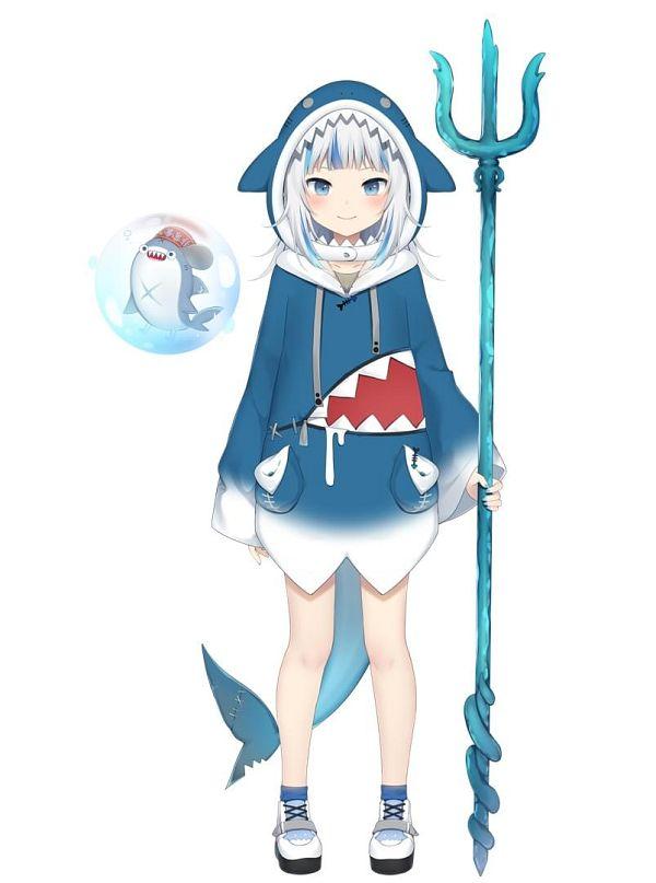 Tags: Anime, Amashiro Natsuki, Gawr Gura Ch., Hololive, Bloop, Gawr Gura, Shark, Official Art, Cover Image