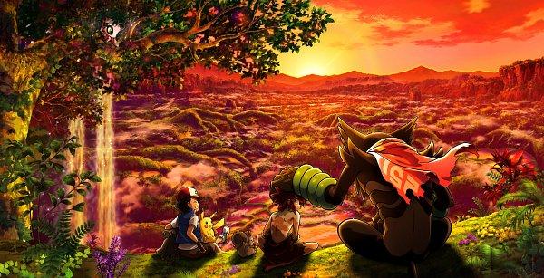 Tags: Anime, Marufuji Hirotaka, Oriental Light and Magic, Pokémon (Anime), Gekijouban Pokémon: Coco, Pokémon, Satoshi (Pokémon), Zarude, Pikachu, Coco (Pokémon), Celebi, Greedent, Hill