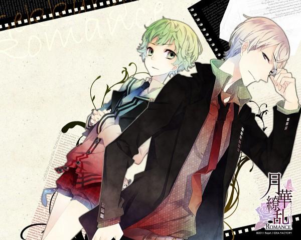Tags: Anime, Kuroyuki, IDEA FACTORY, Gekka Ryouran ROMANCE, Fuji Reito, Saionji Seri, Official Wallpaper, Wallpaper, Official Art