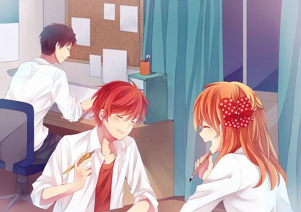 Tags: Anime, Pixiv Id 3617071, Gekkan Shoujo Nozaki-kun, Nozaki Umetarou, Mikoshiba Mikoto, Sakura Chiyo, PNG Conversion, Monthly Girls' Nozaki-kun