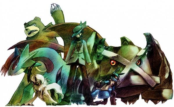 Tags: Anime, Pixiv Id 593730, Pokémon, Ursaring, Salamence, Absol, Lucario, Metagross, Gen (Pokémon), Fedora, Hat Over One Eye, Pixiv, Riley (pokemon)