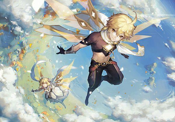 Tags: Anime, Pixiv Id 7263576, Genshin Impact, Aether (Genshin Impact), Lumine (Genshin Impact), Official Art