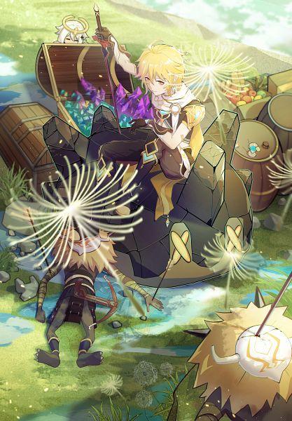 Tags: Anime, Pixiv Id 44172712, Genshin Impact, Aether (Genshin Impact), Paimon (Genshin Impact), Dandelion, Treasure Chest, Treasure, Barrel, Djinn
