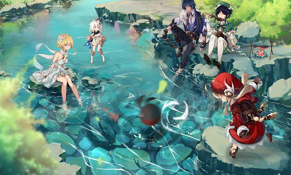 Tags: Anime, Pixiv Id 9690769, Genshin Impact, Lumine (Genshin Impact), Paimon (Genshin Impact), Klee (Genshin Impact), Venti, Kaeya, Official Art