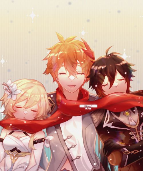 Tags: Anime, Pixiv Id 13104821, Genshin Impact, Lumine (Genshin Impact), Tartaglia, Zhongli
