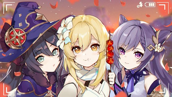 Tags: Anime, miHoYo, Genshin Impact, Keqing, Mona (Genshin Impact), Lumine (Genshin Impact), Camera Screen, 2560x1440 Wallpaper, Wallpaper, Twitter, Official Art