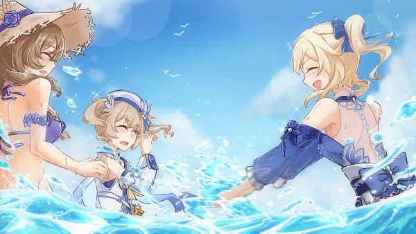 Tags: Anime, Pixiv Id 33848719, Genshin Impact, Lisa (Genshin Impact), Jean (Genshin Impact), Barbara (Genshin Impact), Summertime Sparkle, Sea Breeze Dandelion, Wallpaper