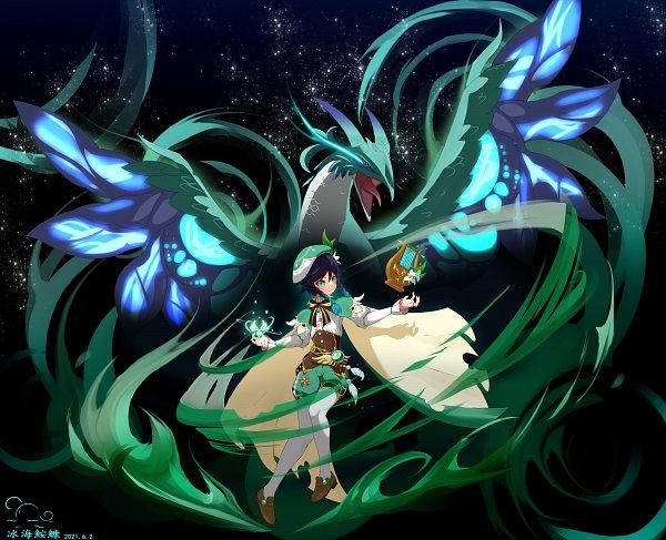 Tags: Anime, Pixiv Id 20096998, Genshin Impact, Venti, Dvalin, Lyre, Pixiv, Fanart, Fanart From Pixiv