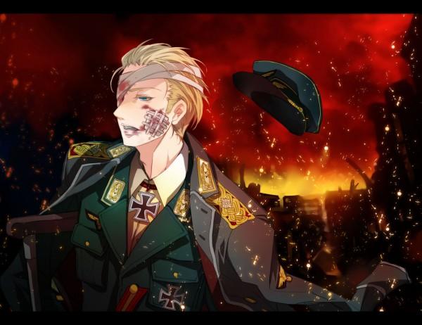 Tags: Anime, Ryouko (Lovelovela), Axis Powers: Hetalia, Germany, Red Sky, Bandaged Cheek, War, Cane, Iron Cross, Bandaged Head, Swastika, Crutches, Fanart From Pixiv