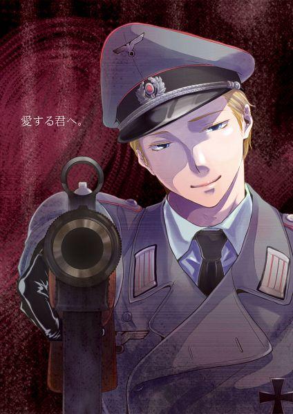 Tags: Anime, K-anzu, Axis Powers: Hetalia, Germany, Aiming At Camera, Fanart, Pixiv, Mobile Wallpaper