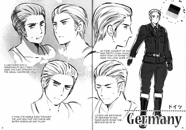 Tags: Anime, Himaruya Hidekaz, Axis Powers: Hetalia, Germany, Character Sheet, Scan, Official Art