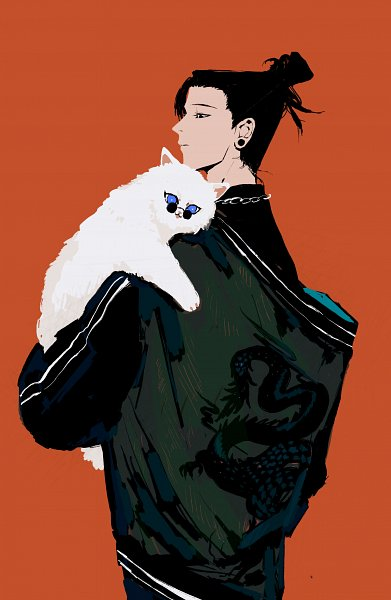 Tags: Anime, Pixiv Id 61628430б, Jujutsu Kaisen, Getou Suguru, White Cat, Pixiv, Fanart, Fanart From Pixiv