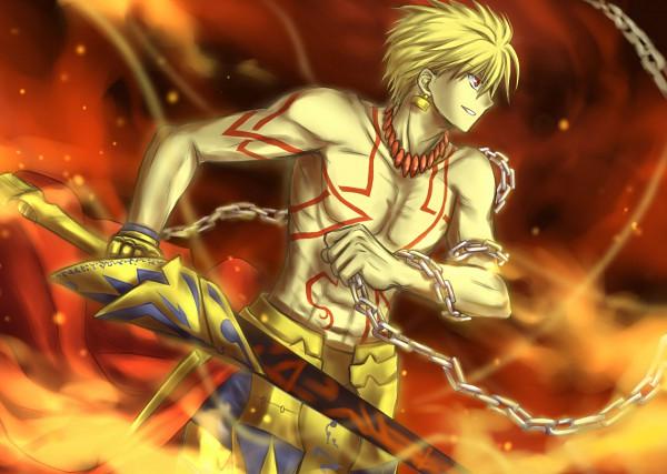 Tags: Anime, hitoha, TYPE-MOON, Fate/stay night, Gilgamesh, Ea, Enkidu (Weapon), Pixiv, Fanart From Pixiv, Fanart