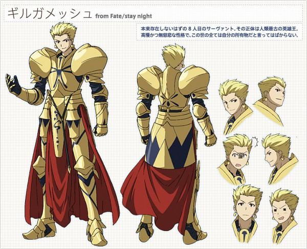 Tags: Anime, Lerche, TYPE-MOON, Carnival Phantasm, Gilgamesh, Greaves, Official Art, Sketch