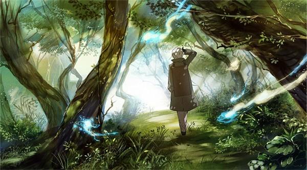 Tags: Anime, Noki (affabile), Mushishi, Ginko (Mushishi), Facebook Cover, Pixiv, Fanart From Pixiv, Fanart