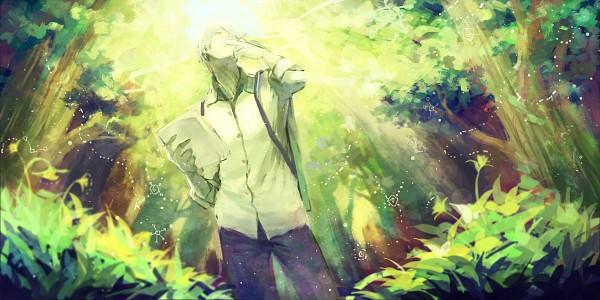 Tags: Anime, Pixiv Id 5363905, Mushishi, Ginko (Mushishi), Holding Paper, Green Flower, Pixiv, Fanart From Pixiv, Wallpaper, Fanart, Facebook Cover