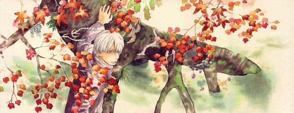 Tags: Anime, Urushibara Yuki, Mushishi, Ginko (Mushishi), Traditional Media, Official Art, Scan, Watercolor, Facebook Cover