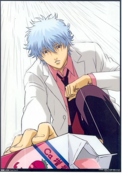 Tags: Anime, Gintama, Ginpachi-sensei, Sakata Gintoki, Strawberry Milk, Milk Carton, Mobile Wallpaper, Official Art, 3z