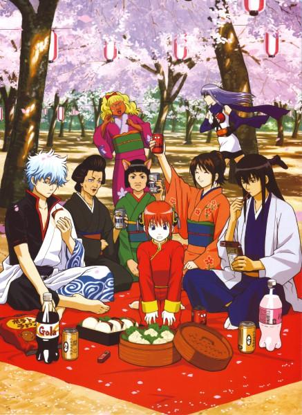 Tags: Anime, Gintama, Sakata Gintoki, Kimiko (Gin Tama), Sarutobi Ayame, Shimura Tae, Catherine (Gin Tama), Kagura (Gin Tama), Otose (Gin Tama), Katsura Kotaro, Hanami, Picnic, Scan, Silver Soul