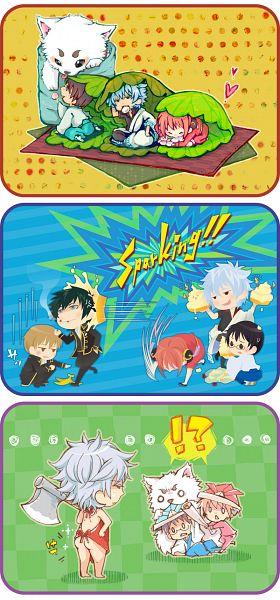 Tags: Anime, Pixiv Id 2629197, Gintama, Sakata Gintoki, Kagura (Gin Tama), Shimura Shinpachi, Okita Sougo, Hijikata Toushirou, Sadaharu, Origami Hat, Origami, Pixiv, Comic, Silver Soul