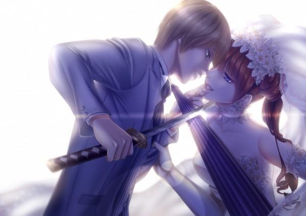 Tags: Anime, Arkray, Gintama, Kagura (Gin Tama), Okita Sougo, Closed Umbrella, Fanart, OkiKagu, Silver Soul