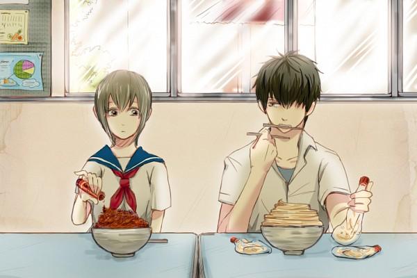 Tags: Anime, Okita Mitsuba, Hijikata Toushirou, Mayonnaise, 3z, Pixiv, Fanart From Pixiv, Fanart, HijiMitsu, Silver Soul