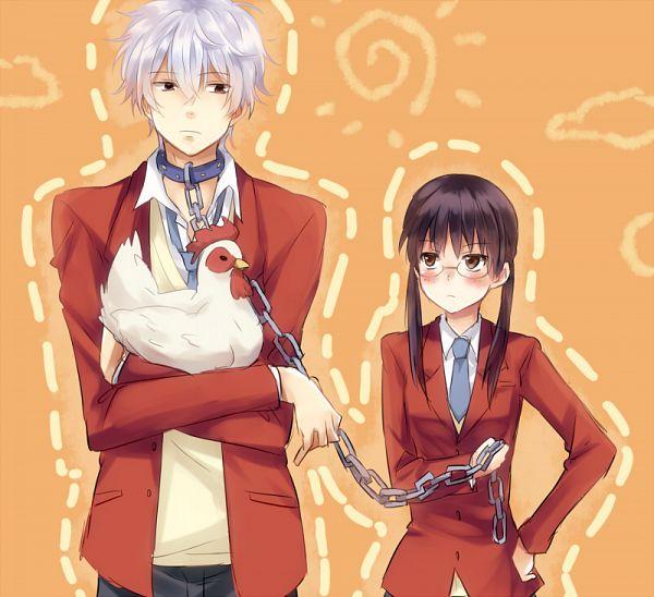 Tags: Anime, Punchiki, Gintama, Shimura Shinpachi, Pachie, Sakata Gintoki, Tonari no Kaibutsu-kun (Parody), Chicken, Yoshida Haru (Cosplay), Leash, Mizutani Shizuku (Cosplay), Pixiv, Fanart, Silver Soul