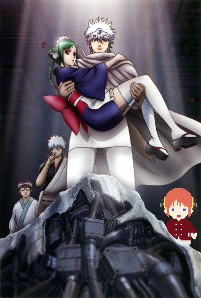 Tags: Anime, Sunrise (Studio), Gintama, Kagura (Gin Tama), Shimura Shinpachi, Sakata Gintoki, Leukocyte King, Tama (Gin Tama), Mobile Wallpaper, Scan, Silver Soul