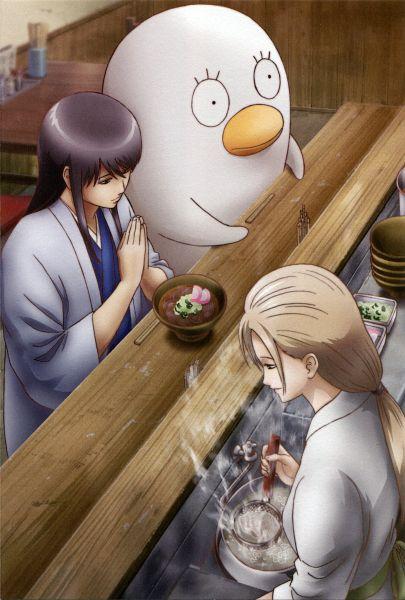 Tags: Anime, Gintama, Katsura Kotaro, Ikumatsu, Ko Elizabeth, Bird Costume, Ramen, Scan, Official Art, Mobile Wallpaper, Katsumatsu, Silver Soul