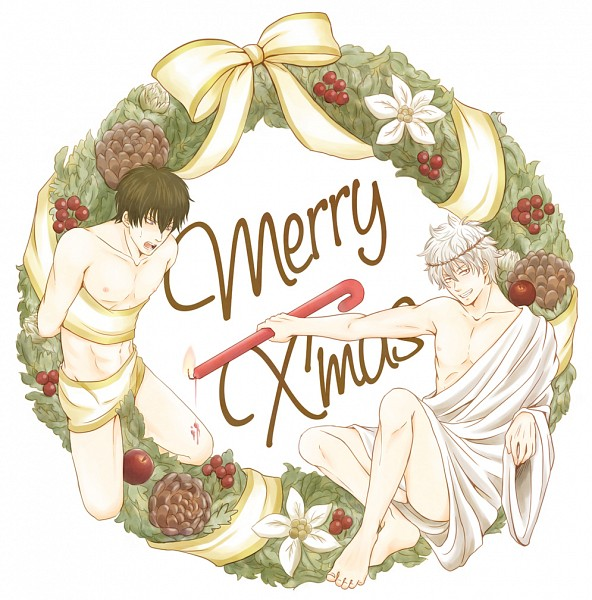 Tags: Anime, Pixiv Id 4670467, Gintama, Hijikata Toushirou, Sakata Gintoki, Wreath, Pine Cone, Tunic, Pixiv, Fanart From Pixiv, Fanart, GinHiji, Silver Soul