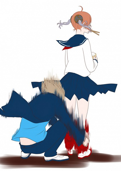 Tags: Anime, Arkray, Gintama, Kagura (Gin Tama), Okita Sougo, Rice, Pulling, 3z, Fanart, Mobile Wallpaper, OkiKagu, Silver Soul