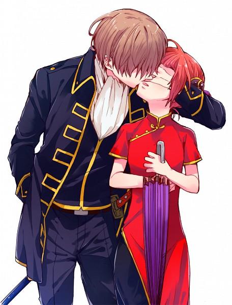Tags: Anime, Pixiv Id 2053465, Gintama, Kagura (Gin Tama), Okita Sougo, Pixiv, Fanart From Pixiv, PNG Conversion, Fanart, OkiKagu, Silver Soul