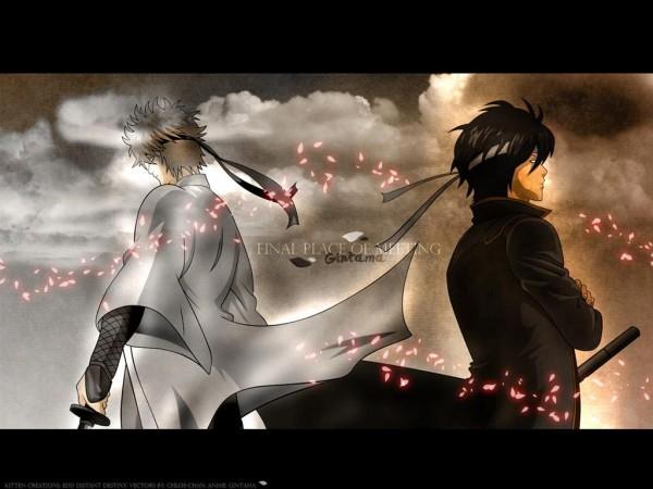 Tags: Anime, Gintama, Takasugi Shinsuke, Sakata Gintoki, Shiroyasha, Wallpaper, Joui War, Silver Soul