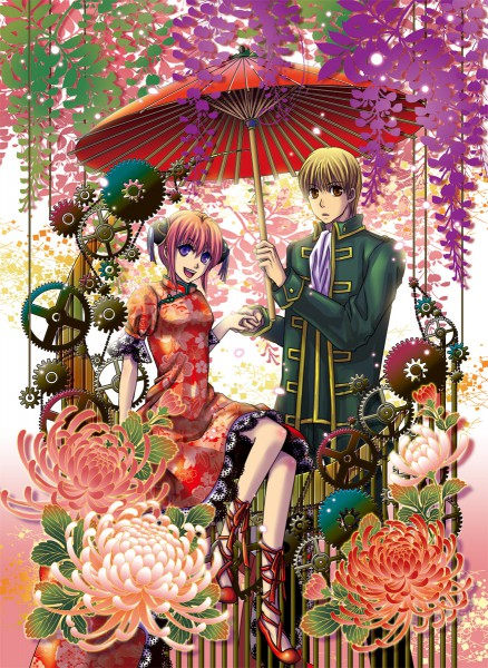Tags: Anime, Eriyama, Gintama, Okita Sougo, Kagura (Gin Tama), Chrysanthemum, Wisteria, Fanart, Mobile Wallpaper, Fanart From Pixiv, Pixiv, OkiKagu