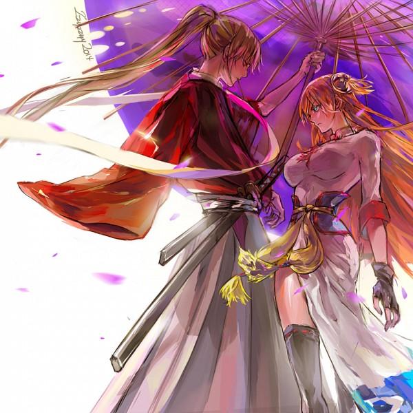 Tags: Anime, zzyzzyy, Gintama, Gekijouban Gintama Kanketsuhen: Yorozuya Yo Eien Nare, Okita Sougo, Kagura (Gin Tama), Single Sleeve, Pixiv, Fanart From Pixiv, Fanart, OkiKagu, Silver Soul