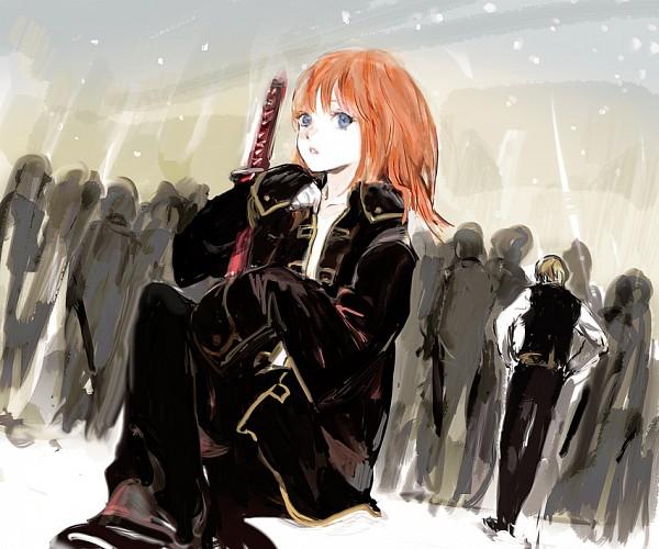 Tags: Anime, Pixiv Id 4277119, Gintama, Kagura (Gin Tama), Okita Sougo, Borrowed Clothes, Fanart From Pixiv, Fanart, Revision, Pixiv, OkiKagu, Silver Soul