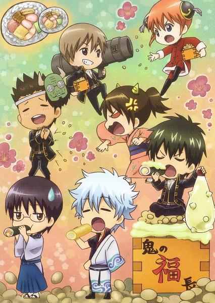 Tags: Anime, Sunrise (Studio), Gintama, Sakata Gintoki, Kagura (Gin Tama), Kondo Isao, Shimura Shinpachi, Okita Sougo, Hijikata Toushirou, Shimura Tae, Swiss Roll, Rocket Launcher, Mayonnaise, Silver Soul