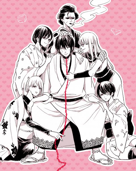 Tags: Anime, Pixiv Id 1369387, Gintama, Sarutobi Ayame, Shimura Tae, Tsukuyo, Yagyuu Kyuubei, Otose (Gin Tama), Sakata Gintoki, Takasugi Shinsuke (Cosplay), Harem, Pixiv, Fanart From Pixiv, Silver Soul