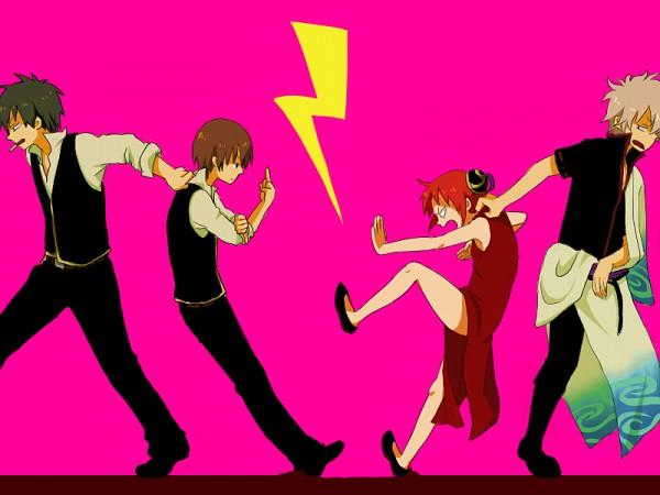 Tags: Anime, Azu Sachiko, Gintama, Okita Sougo, Hijikata Toushirou, Sakata Gintoki, Kagura (Gin Tama), Pulling, Quarrel, Fanart, Silver Soul