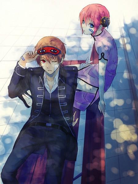 Tags: Anime, Mg (Pixiv4935063), Gintama, Kagura (Gin Tama), Okita Sougo, Pflaster, Sleep Mask, Pixiv, OkiKagu, Silver Soul