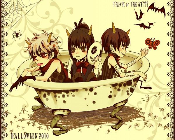 Tags: Anime, Pixiv Id 594930, Gintama, Katsura Kotaro, Takasugi Shinsuke, Sakata Gintoki, Bathtub, Joui, Silver Soul