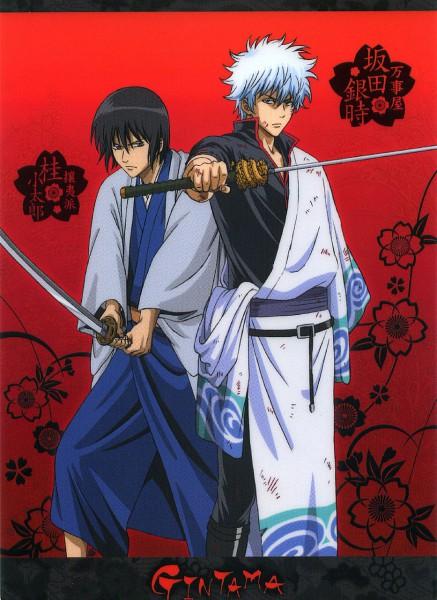 Tags: Anime, Gintama, Katsura Kotaro, Sakata Gintoki, Official Art, Mobile Wallpaper, Benizakura Arc