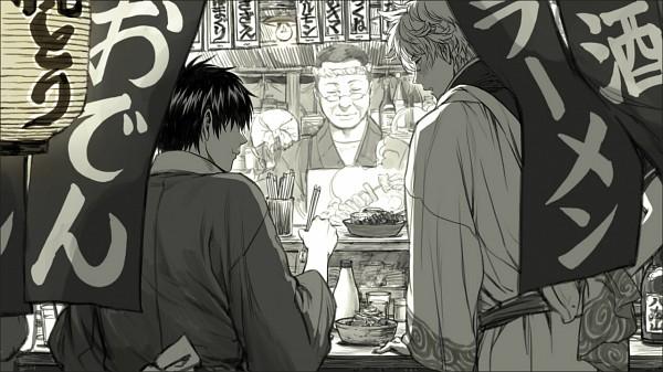 Tags: Anime, Tkr (Lovedelic99), Gintama, Hijikata Toushirou, Sakata Gintoki, Mayonnaise, Restaurant, Ramen, Facebook Cover, Pixiv, Silver Soul