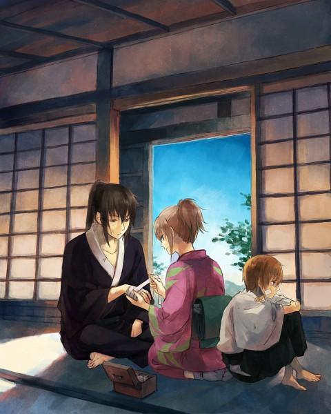 Tags: Anime, Mg (Pixiv4935063), Gintama, Okita Mitsuba, Hijikata Toushirou, Okita Sougo, First Aid Kit, Tatami, Japanese House, Pixiv, HijiMitsu, Silver Soul