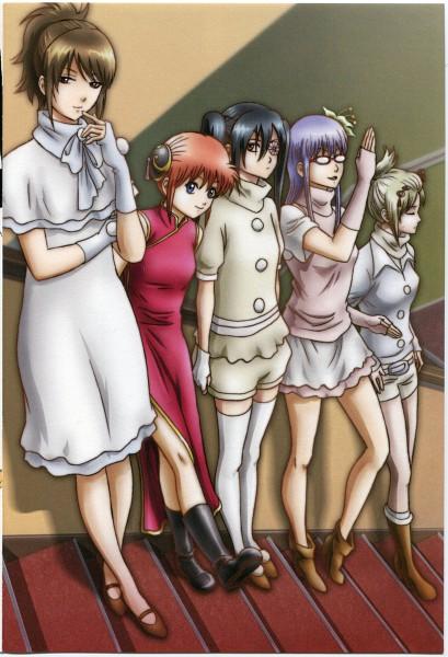 Tags: Anime, Gintama, Tsukuyo, Yagyuu Kyuubei, Sarutobi Ayame, Shimura Tae, Kagura (Gin Tama), Official Art, Scan, Mobile Wallpaper, Silver Soul