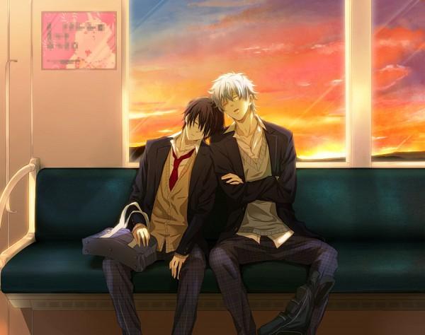 Tags: Anime, Masaji, Gintama, Sakata Gintoki, Prince Hata, Takasugi Shinsuke, Train Interior, Pixiv, Fanart, GinTaka, Silver Soul