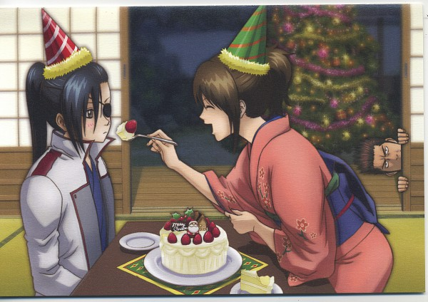 Tags: Anime, Gintama, Kondo Isao, Shimura Tae, Yagyuu Kyuubei, Party Hat, Party, Official Art, KonTae, KyuuTae, Silver Soul